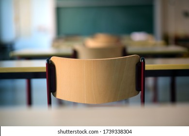 Bavaria, Germany.  May 14, 2020. A deserted classroom in Germany as many children are still being kept at home due to the outbreak of Corona virus which has hit Bavaria hardest of all German states.