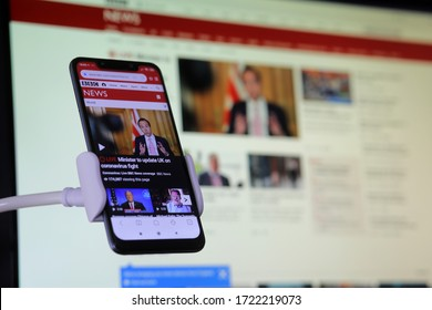 Bavaria, Germany. May 4, 2020.The Bbc news channel displayed on a smartphone as the Corona crisis rages. News via smartphone app is now the main choice for many people in search of breaking stories.
