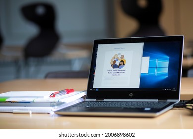 Bavaria, Germany. November 17, 2020. Microsoft Teams software in a German classroom ready for use on a HP computer
