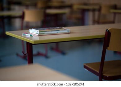 Bavaria, Germany. October 02, 2020. School furniture in an empty classroom in Germany as Covid-19 figures rise. Politicians are keen to keep schools open if at all possible.