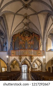 Altötting, Bavaria, Germany - October 10 2018: Organloft  of the Collegiate Church St Philipp and Jacob