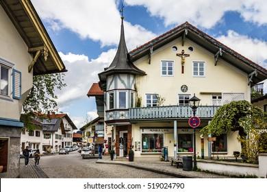 Bavaria, Germany. Small church in village Oberammergau
