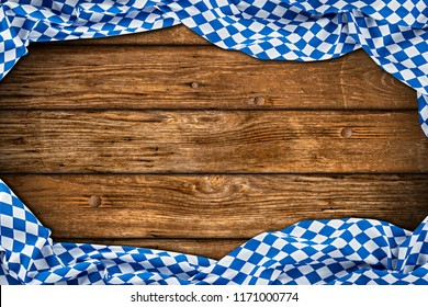 bavaria wooden rustic wood background with white blue bavarian flag empty copy space