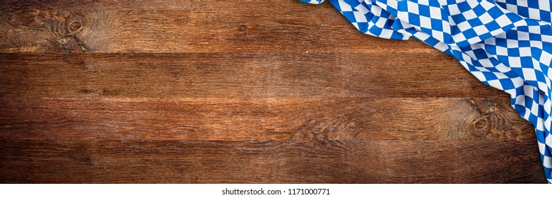 bavaria wooden rustic wood wide panorama background with white blue bavarian flag empty copy space
