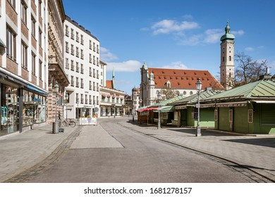 Bavaria-Munich-Germany, 22. März 2020: Empty streets at the Viktualienmarkt in Munich because of shutdown due to corona virus