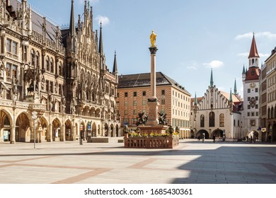 Bavaria-Munich-Germany, 22. März 2020: Empty streets at Marienplatz, Munich because of shutdown due to corona virus