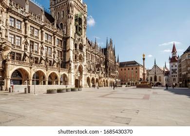 Bavaria-Munich-Germany, 22. März 2020: Empty streets at Marienplatz, Munich because of shutdown due to corona virus