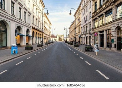 Bavaria-Munich-Germany, 27. March 2020: Empty streets at Brienner Strasse in Munich because of shutdown due to corona virus