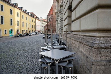 Bavaria-Munich-Germany, 27. March 2020: Literaturhaus Munich, empty closed restaurants and bars, because of shutdown due to corona virus