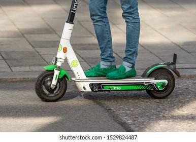 Bavaria-Munich-Germany, Oktober 13. 2019: Electric scooter on the street of Munich near Karlsplatz