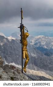 Bavarian alps: Crucified Jesus on a summit cross on the Hockeck near Berchtesgaden