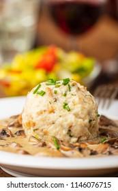bavarian bread dumplings with a mushroom sauce