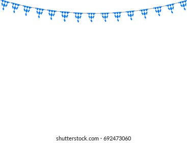 Bavarian bunting festoon from Germany with diamond pattern. Oktoberfest decoration.