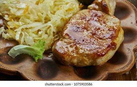 Bavarian cuisine , Traditional Pork Chop and Sauerkraut Casserole