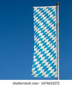 Bavarian flag and deep blue sky