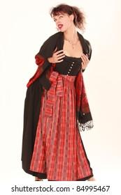 Bavarian girl lolls and erotic desire in full costume /Eroticism in Bavarian costume