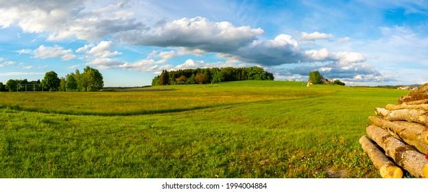 Bavarian landscape in summer at sunset