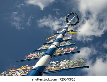 Bavarian Maypole on Viktualienmarkt, Munich, Germany.