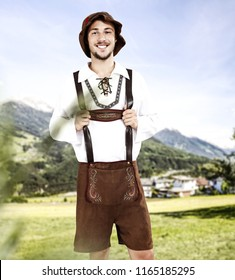 Bavarian men and free space for your decoration.