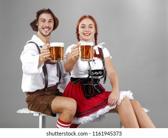Bavarian people and gray background.