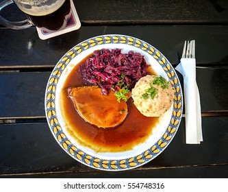 Bavarian Sauerbraten of beef with red cabbage and bread dumplings