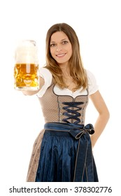Bavarian woman with beer