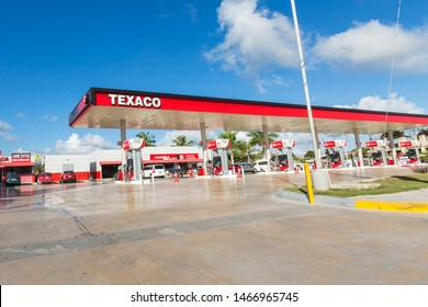 BAVARO, PUNTA CANA, DOMINICAN REPUBLIC - 19 JANUARY 2019: Texaco gasoline station with Techron and Diesel