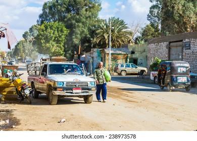 BAWITI, EGYPT - NOV 24, 2014: Street in Bawiti, Bawiti is the capital of the Bahariya Oasis in Western Desert of Egypt