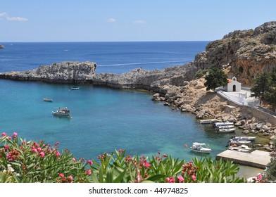 bay Agios Pavlos, island Rhodes, Greece