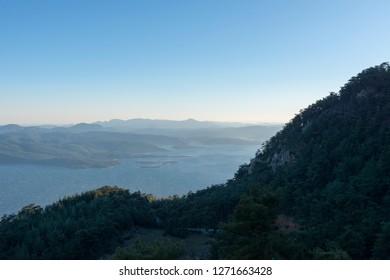 The bay of Akyaka district of Muğla province of Turkey.