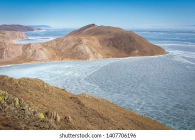 Bay Aya in spring, lake Baikal, Tazheran steppes