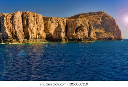 Bay Balos. The west coast of the peninsula Gramvousa. The island of Crete. Greece.