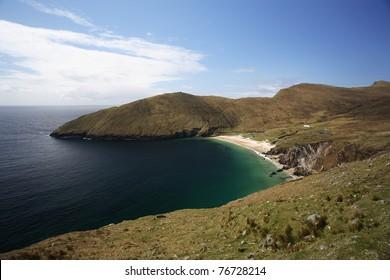 Bay with beach in Achill Island, Ireland.