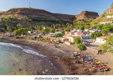Bay, beach and Cidade Velha village, Santiago Island, Cape Verde