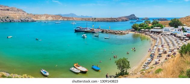 Bay and beach panorama near Lindos. Rhodes, Greece