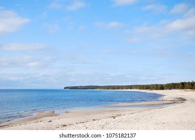 Bay with beautiful sand beach at Byrum on the swedish island Oland