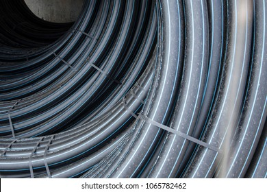 a bay of black cable in isolation
