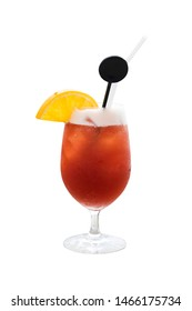 The Bay Breeze cocktail on the beach isolated on background