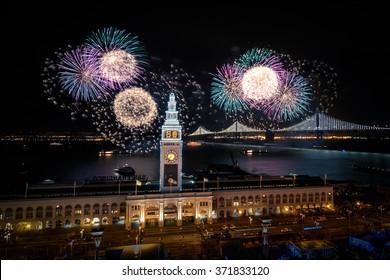 Bay bridge lighting and fireworks for Super Bowl 50 in San Francisco, California, USA