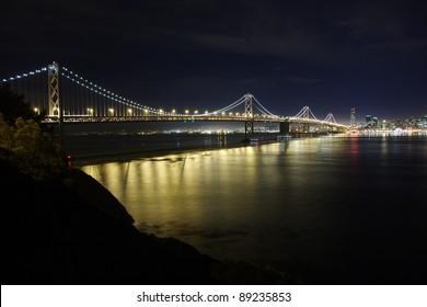 Bay Bridge at night seen from Treasure Island