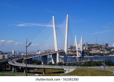 Bay bridge on background of blue sky
