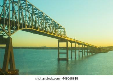Bay Bridge over water at sunrise, Ocean City