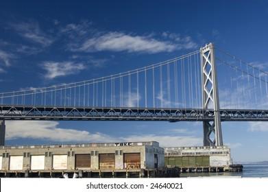 Bay Bridge and pier, San Francisco, California, USA