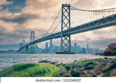 Bay Bridge with San Francisco downtown in background, California, USA