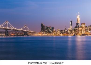 Bay Bridge San Francisco Downtown Scenic View Pacific Ocean Long Exposure Nightview of skyscraper