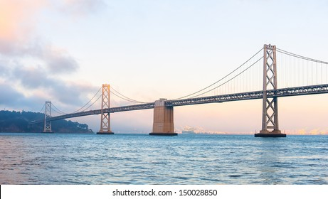 The bay bridge of San Francisco at sunset