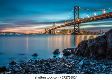 Bay Bridge in San Francisco from Treasure Island
