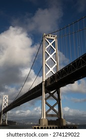 Bay Bridge Span and Sky with Clouds