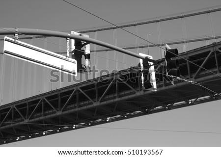 Bay Bridge Traffic Lights Monochrome San Stock Photo (Edit