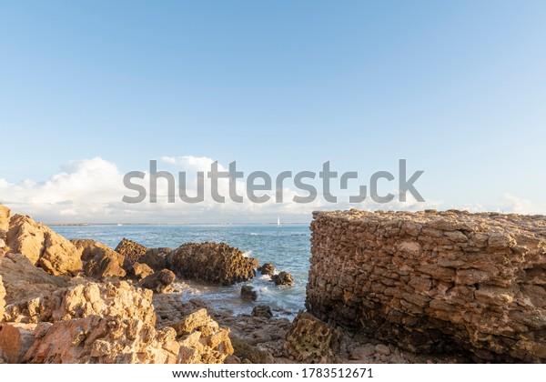 bay-cadiz-seen-ruins-fort-600w-178351267